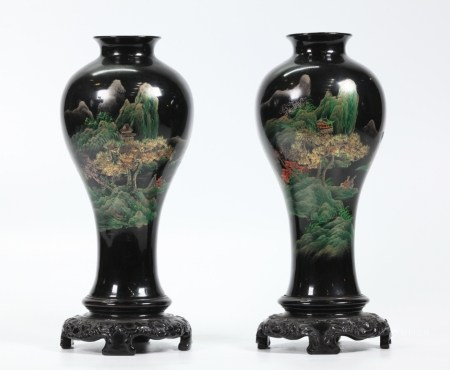 Pair Chinese Fujian Black Lacquer Meiping Vases