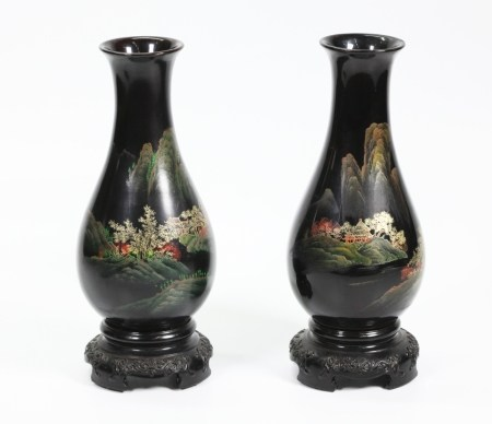 Pr Chinese Pear-Shaped Fujian Black Lacquer Vases