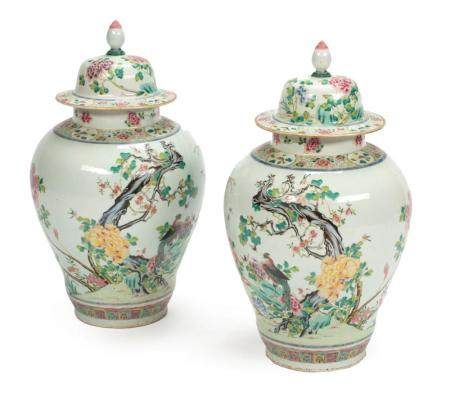 Chinese Export Famille Rose Porcelain Jars
