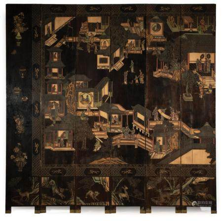 Chinese Carved, Painted Coromandel Lacquer Screen