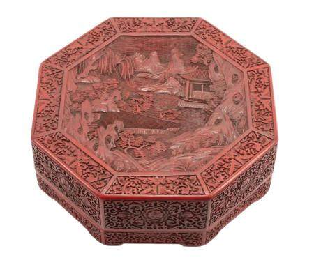 Chinese Red Lacquer Octagonal Box