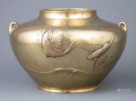 Japanese Polished Bronze Vase