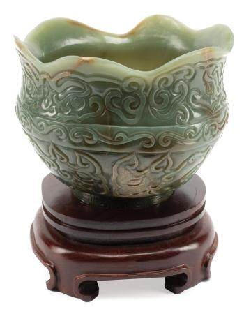 Chinese Celadon and Russet Jade Bowl