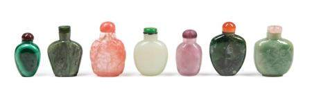 Six Chinese Hardstone and Glass Snuff Bottles