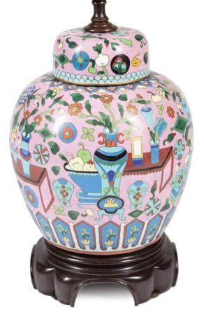 Chinese Cloisonne Enamel Covered Jar