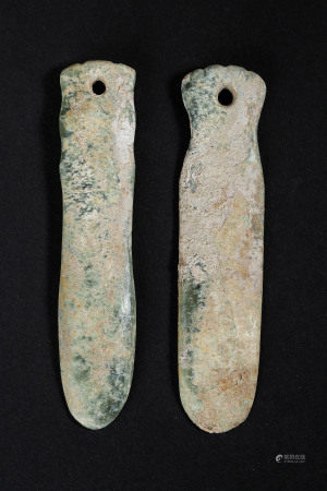 SET(2) OF JADE INSECT-SHAPED WARES FROM HONGSHAN CULTURE, CHINA