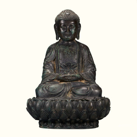 CHINESE SEATED BRONZE BUDDHA, MING DYNASTY