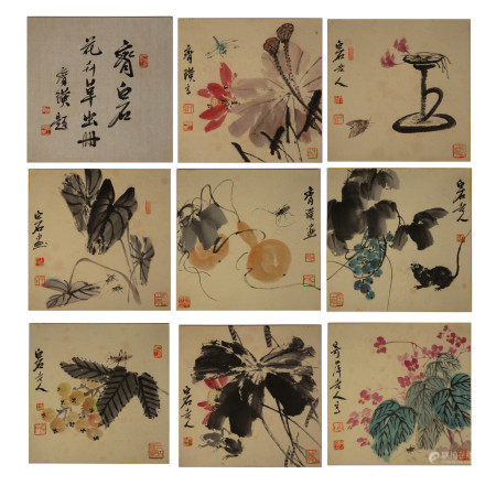 Chinese Calligraphy and Painting Album 'Flowers, and insects', Qi Baishi