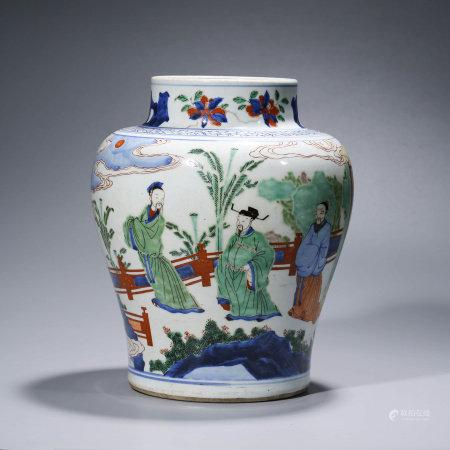 A CHINESE WUCAI PORCELAIN STORY JAR,GUAN