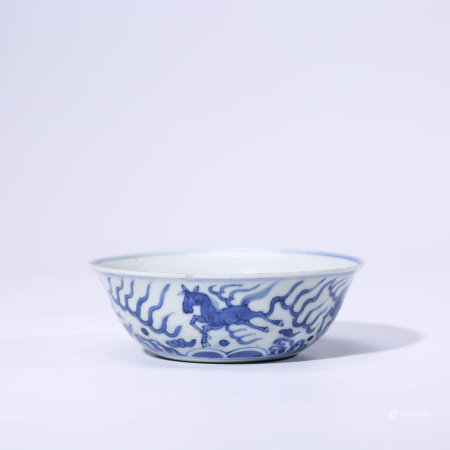 A CHINESE BLUE AND WHITE  PORCELAIN HORSE BOWL