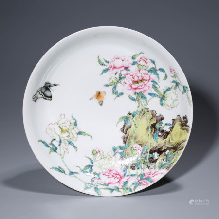 A CHINESE FAMILLE ROSE PORCELIAN POENY DISH MARKED YONG ZHENG