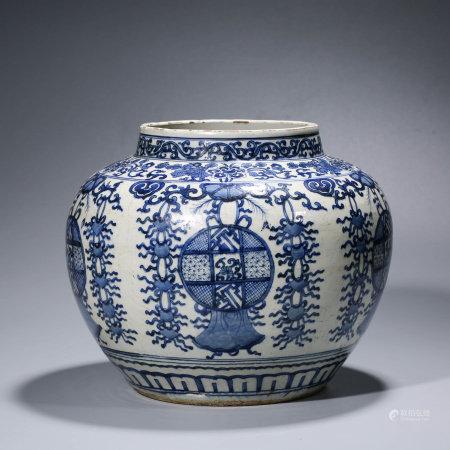 A CHINESE BLUE AND WHITE INTERLOCK BRANCHES JAR MARKED WAN LI