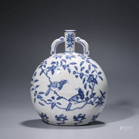 A CHINESE BLUE AND WHITE PORCELAIN PLUM BLOSSOM MOONFLASK