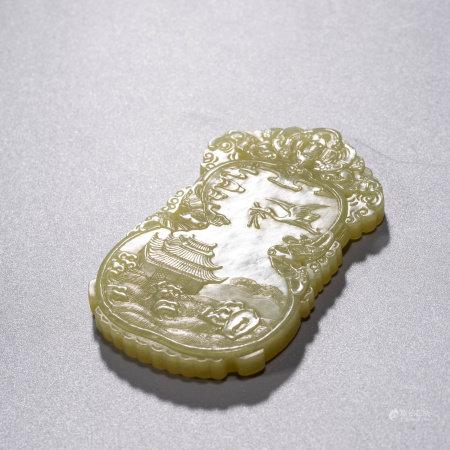 A CHINESE YELLOW JADE PAVILLION PENDANT