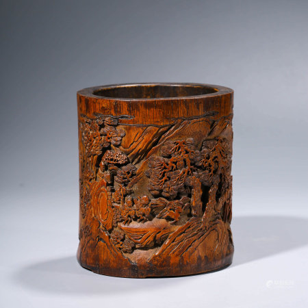 A CHINESE BAMBOO CARVING HUNTING SCENE BRUSHPOT