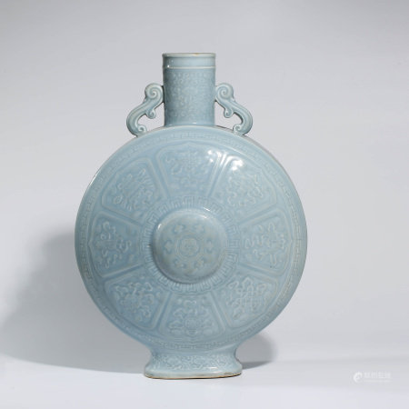 A LIGHT CELADON-GLAZED PORCELAIN EIGHT TREASURE MOONFLASK MARKED QIAN LONG