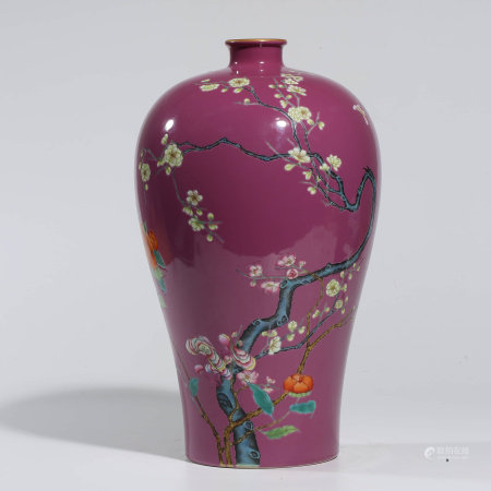 A CHINESE FAMILLE ROSE PORCELAIN PLUM BLOSSOM VASE,MEI PING MARKED YONG ZHENG