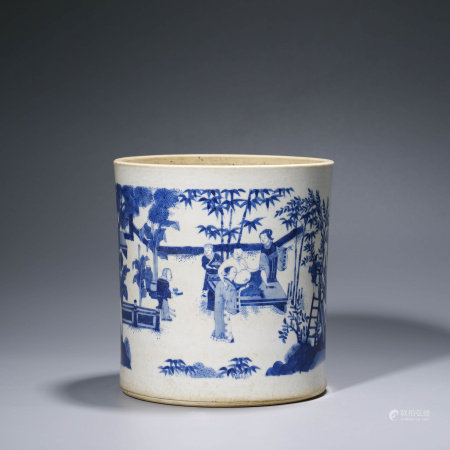 A CHINESE BLUE AND WHITE PORCELAIN STORY BRUSH POT
