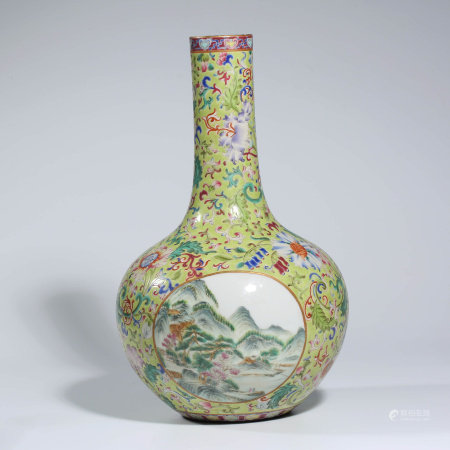 A CHINESE FAMILLE ROSE PORCELAIN INTERLOCK BRANCHES VASE MARKED QIAN LONG