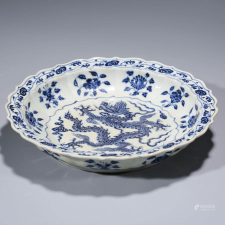 A CHINESE BLUE AND WHITE PORCELAIN DRAGON AND INTERLOCK BRANCHES LOEB DISH MARKED XUAN DE