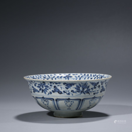 A CHINESE BLUE AND WHITE PORCELAIN MANDERIN DUCKS BOWL