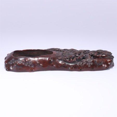 清代 红木雕松树纹水盂