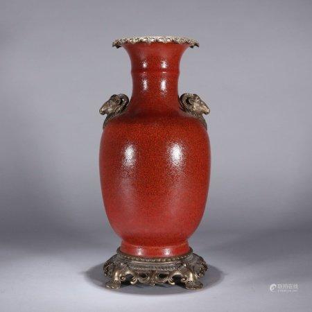 清代 镶铜红橘皮釉大瓶