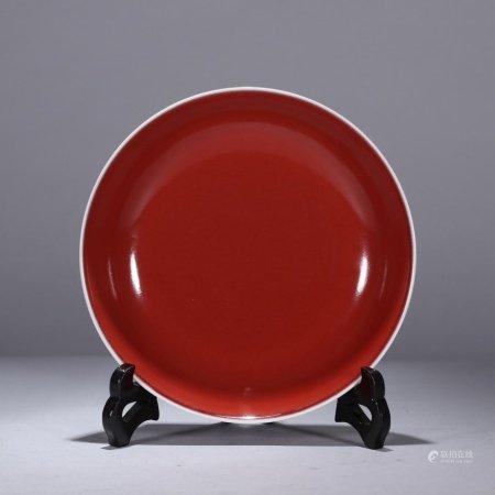 清代 霁红釉盘