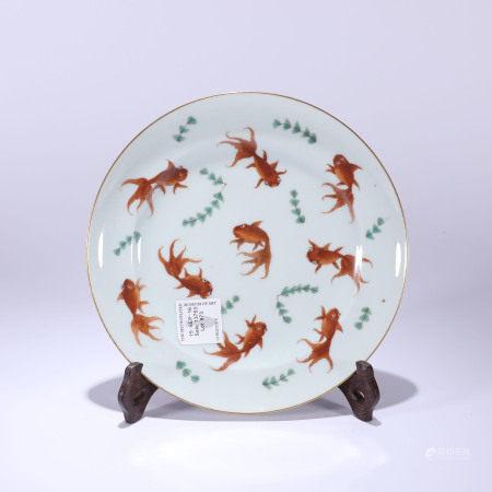 清代 描金金鱼纹盘
