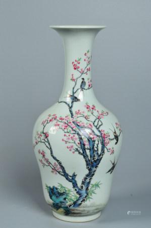 Pastel enamel vase with flower and bird design 粉彩花鸟纹赏瓶