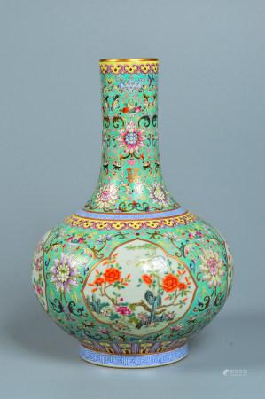 Powder enamel vase with flower pattern with window opening 粉彩开窗花卉纹天球瓶