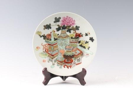 Powder enamel antique plate 粉彩博古盘