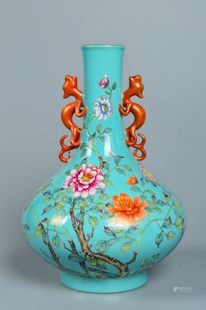Pastel enamel vase with flowers 粉彩花卉瓶