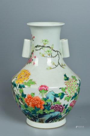 Pastel enamel vase with floral pattern 粉彩花卉纹赏瓶