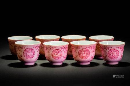 大清乾隆年製款 桃釉花紋 煎茶碗 8客