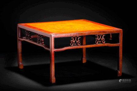 唐木 唐木造 玉杢天板彫紋四方台 花台