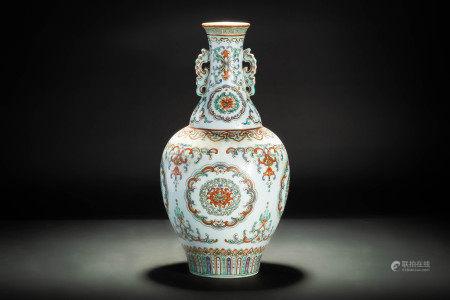 時代 本金彩色絵蓮花瓔珞紋双耳瓶