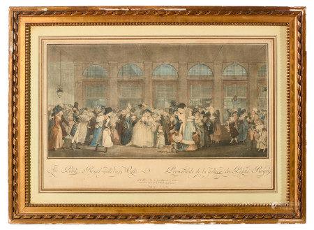 École anglaise fin XVIIIe.  - Promenade de la Gallerie du Palais Royal.  - Gravure [...]