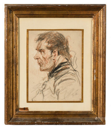 École allemande XIXe.  - Portrait d'homme de profil.  - Crayon noir, fusain et [...]