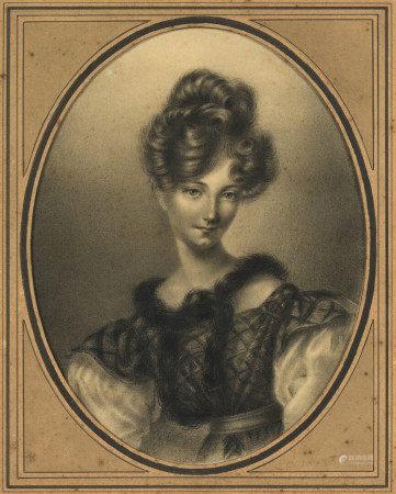 École française XIXe.  - Portrait de femme.  - Fusain à vue ovale présenté dans [...]