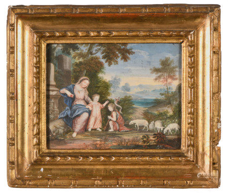 École française XVIIIe.  - La Vierge, l'Enfant et Saint-Jean Baptiste dans un [...]