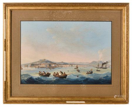 École napolitaine fin XVIIIe, début XIXe.  - Baie de Naples animée.  - Gouache.  - [...]