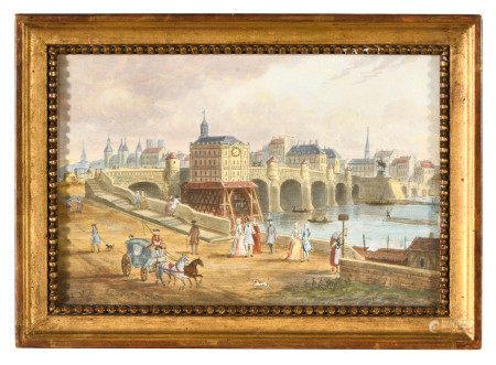 École française début XIXe.  - Le Vieux Louvre vu des fossés et de la Tour de [...]