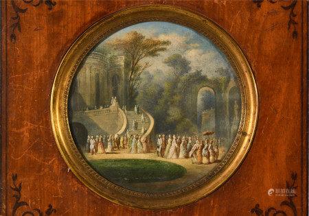 École française XIXe.   - Assemblée dans un parc.  - Gouache circulaire sur [...]