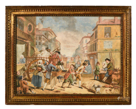 École française XIXe d'après Etienne JEAURAT (1699-1789).  - Le déménagement [...]