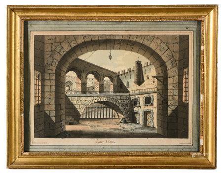 MAISONNEUVE (XVIII-XIXe).  - Prison d'État.  - Aquarelle signée Maisonneuve Minor [...]