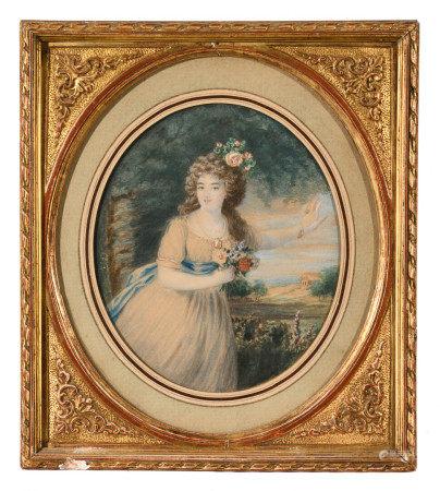 École française début XXe.  - Portrait de femme au bouquet de fleurs devant un [...]