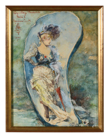 École française fin XIXe.  - Coquillage fantaisiste dédié à Monsieur DECK.  - [...]