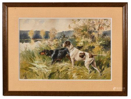Karl André Jean REILLE (1886-1974/75).  - Chiens de chasse à l'arrêt.  - Aquarelle [...]