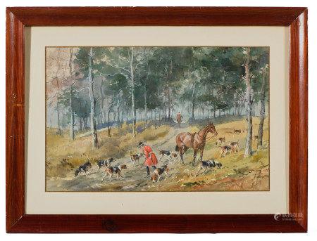 Karl André Jean REILLE (1886-1974/75).  - Scène de chasse à courre.  - Aquarelle [...]